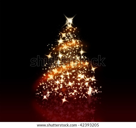 Glowing Christmas tree with a lot of glittering sparks - stock photo