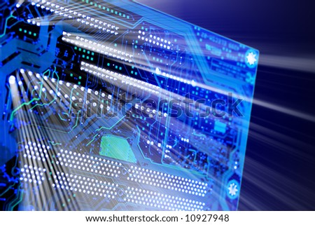 Glowing circuit board lit from behind - stock photo