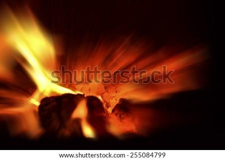 Glowing coal - stock photo
