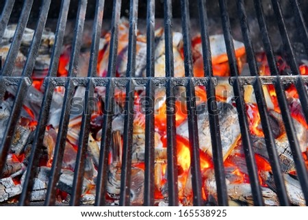 Glowing coal in BBQ Grill - stock photo