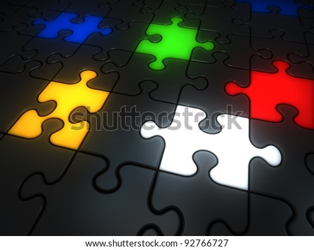 Glowing colorful jigsaw pieces: red, white, yellow, green and blue. - stock photo