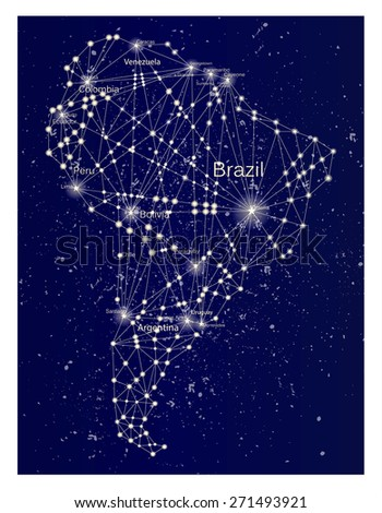 Glowing continent abstract map of South America. South America at night. Molecule style design. Raster illustration. - stock photo
