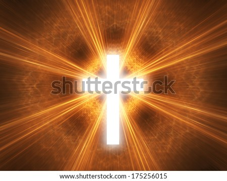 Glowing cross, with radial rays of light. - stock photo