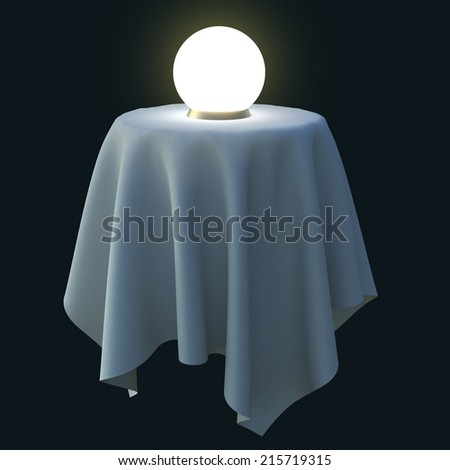 Glowing crystal ball on a round table. 3d illustration isolated on black background. - stock photo