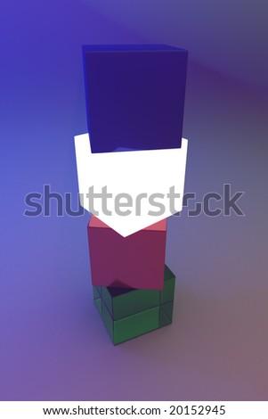 Glowing 3d shape, dark background - stock photo