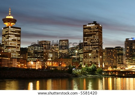 Glowing Downtown Vancouver - stock photo