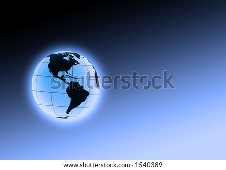 glowing earth orb in space - stock photo