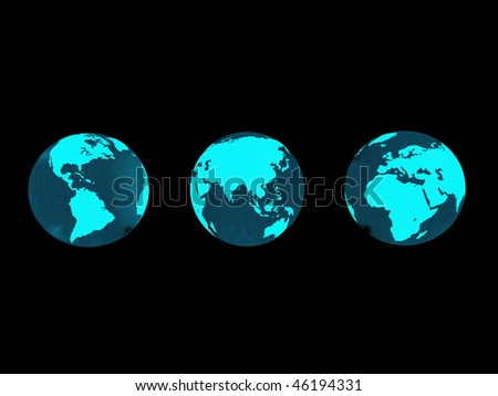 Glowing earth over black background