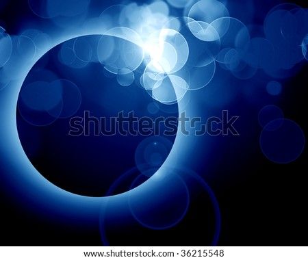 glowing eclipse on a dark blue background - stock photo
