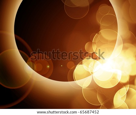 glowing eclipse on a dark brown background - stock photo