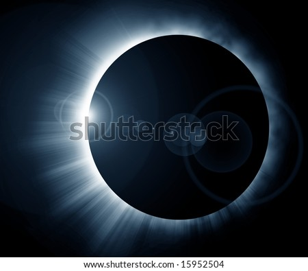 glowing eclipse on a solid black background - stock photo