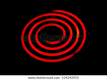 Glowing electric stove spiral. - stock photo