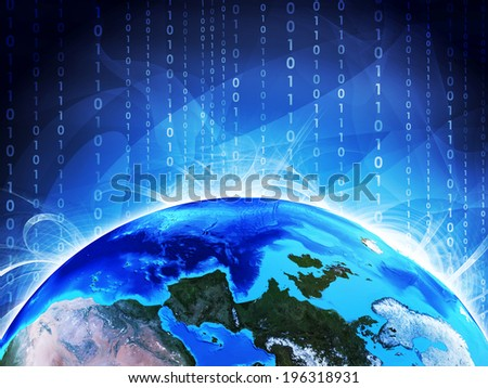 Glowing figures and Earth. Hi-tech technological background. Elements of this image are furnished by NASA - stock photo