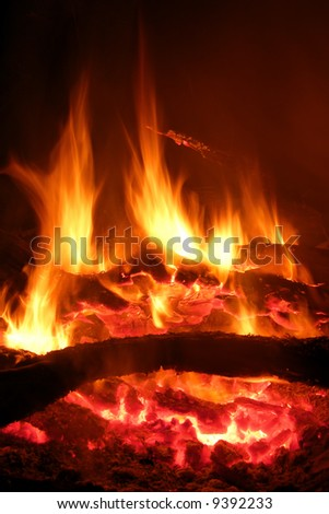 glowing fire - stock photo