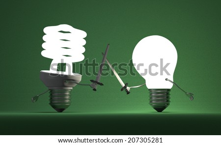 Glowing fluorescent light bulb and tungsten one fighting duel with swords on green textured background - stock photo