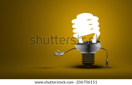 Glowing fluorescent light bulb character making inviting gesture on yellow textured background