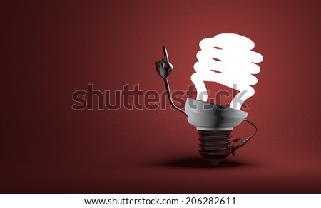 Glowing fluorescent light bulb character with big metallic hands in moment of insight on red textured background - stock photo