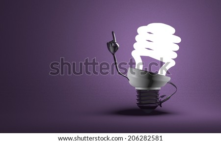 Glowing fluorescent light bulb character with big metallic hands in moment of insight on violet textured background - stock photo