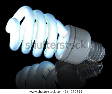 Glowing fluorescent light bulbs, 3d rendering on reflecting, black background - stock photo