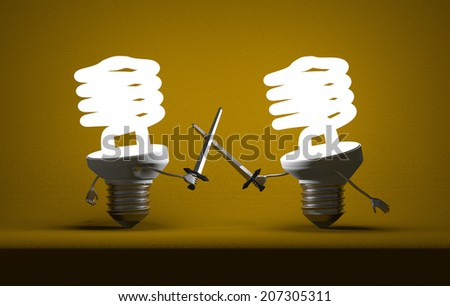 Glowing fluorescent light bulbs fighting duel with swords on yellow textured background - stock photo