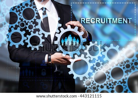 "Glowing gear with icon ""Recruitment"" in the hands of a businessman. Business concept. Internet concept. - stock photo"