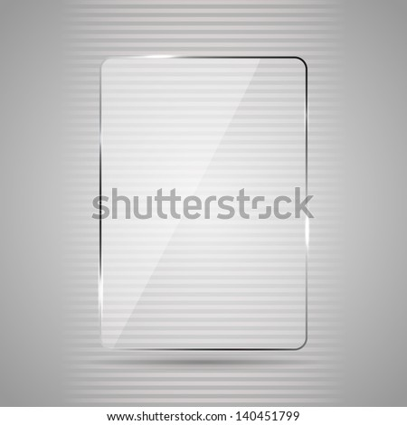 Glowing glass panel on a gray background, illustration. - stock photo