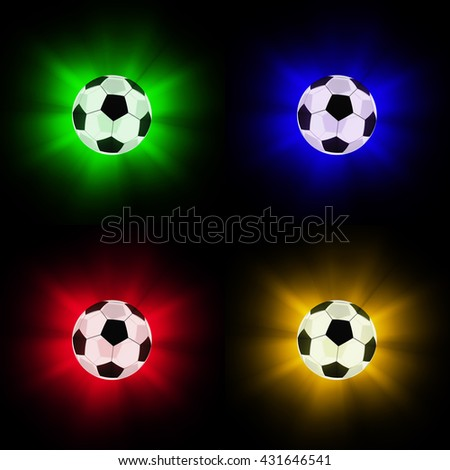 Glowing glass soccer balls. Isolated on white background. 3d render - stock photo