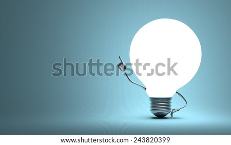 Glowing globe light bulb character in aha moment on blue background - stock photo
