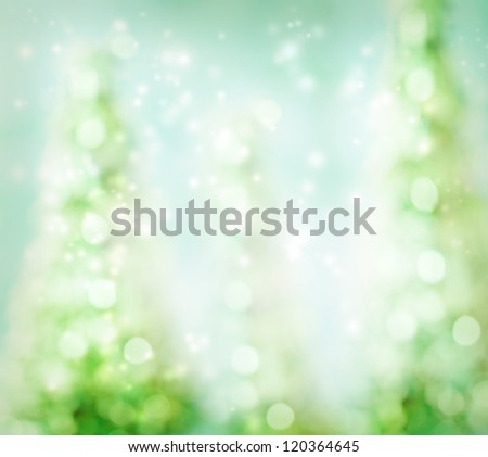 Glowing Green Abstract Christmas Tree Background - stock photo