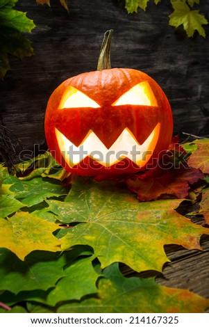Glowing halloween pumpkin on autumn leaves - stock photo