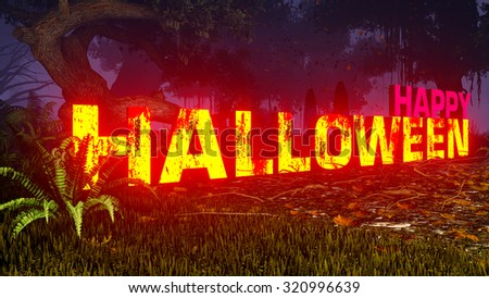 Glowing Happy Halloween text in a scary night forest with ghostly silhouettes in the distance. Decorative 3D illustration was done from my own 3D rendering file. - stock photo