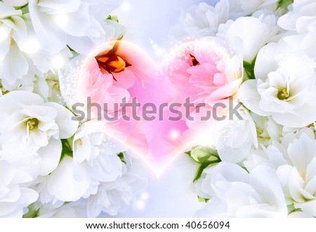 Glowing Heart Surrounded with Delightful Jasmine Flowers