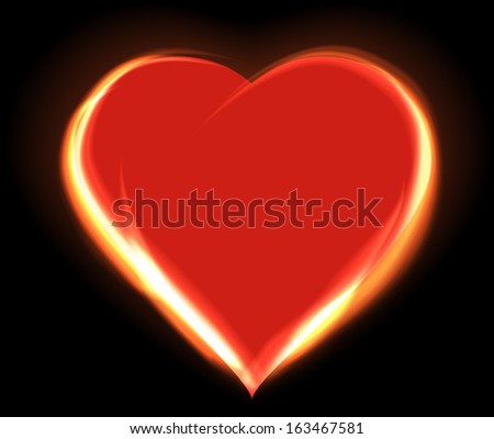 Glowing heart Valentine's day background, Raster version - stock photo