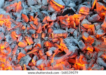 Glowing Hot Wood Embers - stock photo