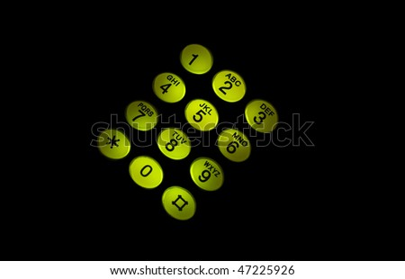 glowing in the dark button phone, the green light - stock photo