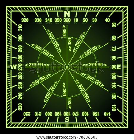 Glowing in the Dark Green Navigation Grid with Direct and Reverse Course Designation. Rasterized Version - stock photo