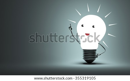 Glowing inspired happy funny light bulb character in aha moment on dark gray background  illuminated by it. Moment of insight, inspiration, creativity concept