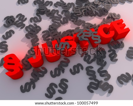 glowing Justice, surrounded by paragraph signs - stock photo