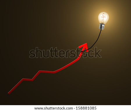 Glowing lamp balloon with money symbol inside hanging growth red arrow flying in dark space - stock photo