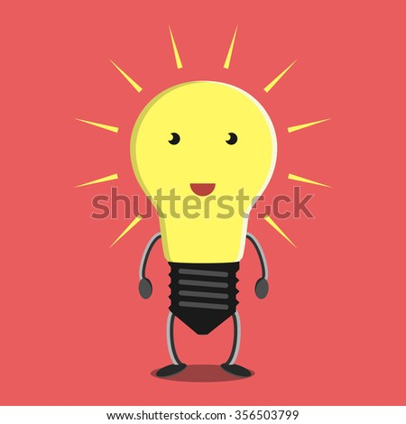 Glowing light bulb character on red background. Idea, insight, solution, inspiration, eureka, success and aha moment concept - stock photo
