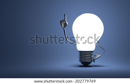 Glowing light bulb character with big metallic hands in moment of insight on blue textured background - stock photo