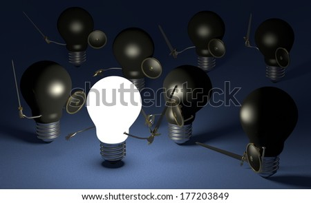 Glowing light bulb fighting against many black ones with swords and shields on dark blue textured background