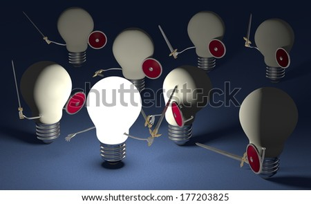 Glowing light bulb fighting against many switched off ones with swords and shields on dark blue textured background
