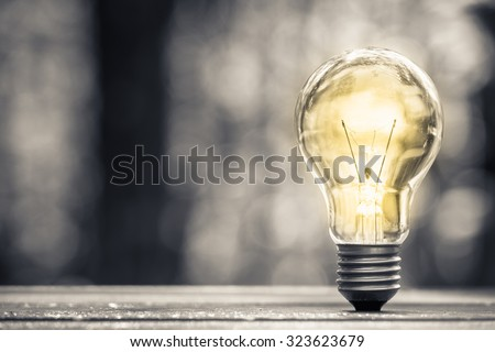 Glowing light bulb in forest environment - stock photo