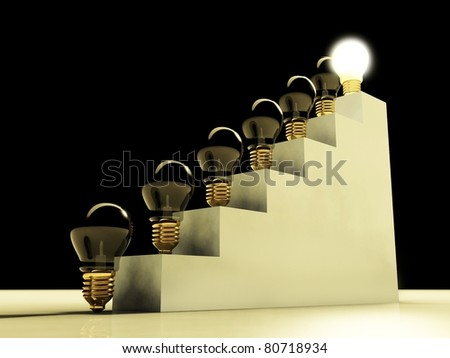 Glowing light bulb on stairs, concept of success and career - stock photo
