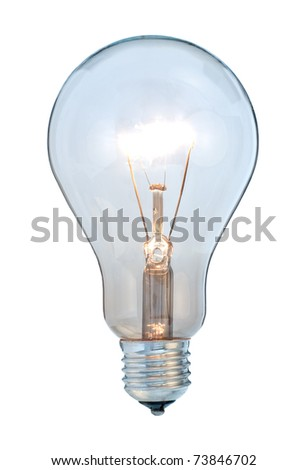 Glowing light bulb on white background