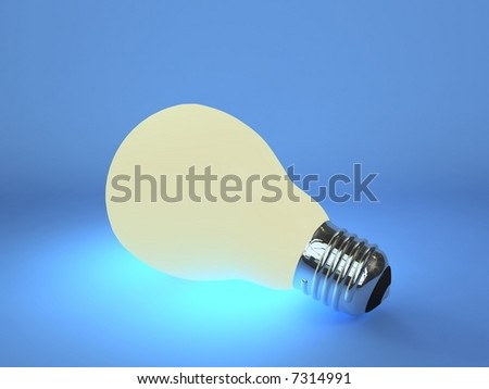 Glowing light bulb with blue background - stock photo