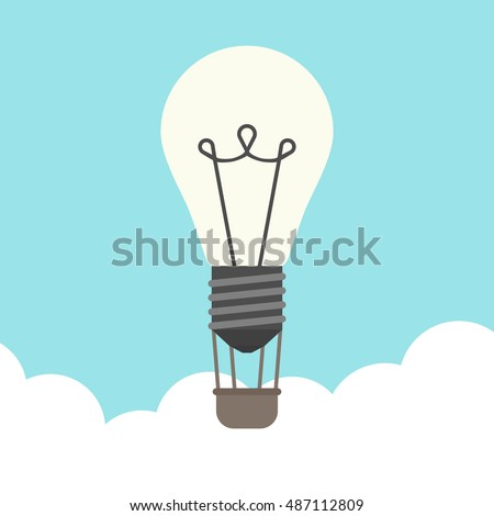 Glowing lightbulb hot air balloon flying above clouds on blue sky background. Inspiration, discovery, idea, growth and insight concept. Flat design