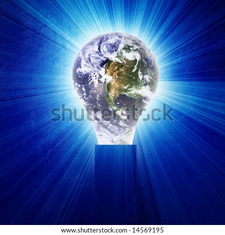 Glowing lightbulb with integrated planet earth