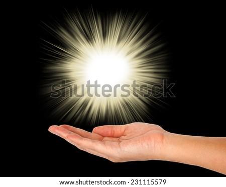 glowing lights on hand - stock photo